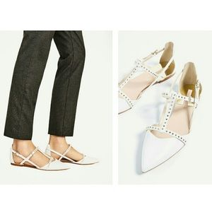 Zara Collection Studded White Pointed Flats